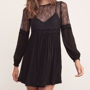 Abercrombie & Fitch Black Lace Long Sleeve Dress